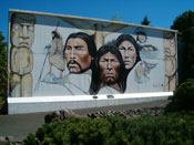 Chemainus Mural featuring striking Native Portraits