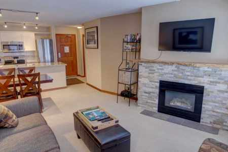 Living area with gas fireplace and cable TV