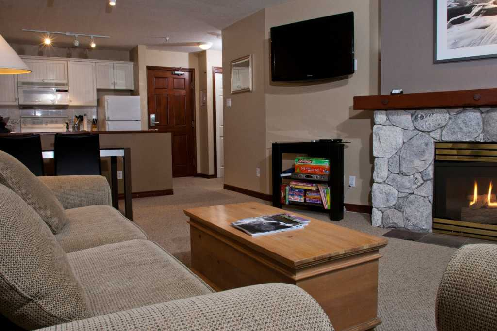Living Room with Gas Fireplace and Sofabed