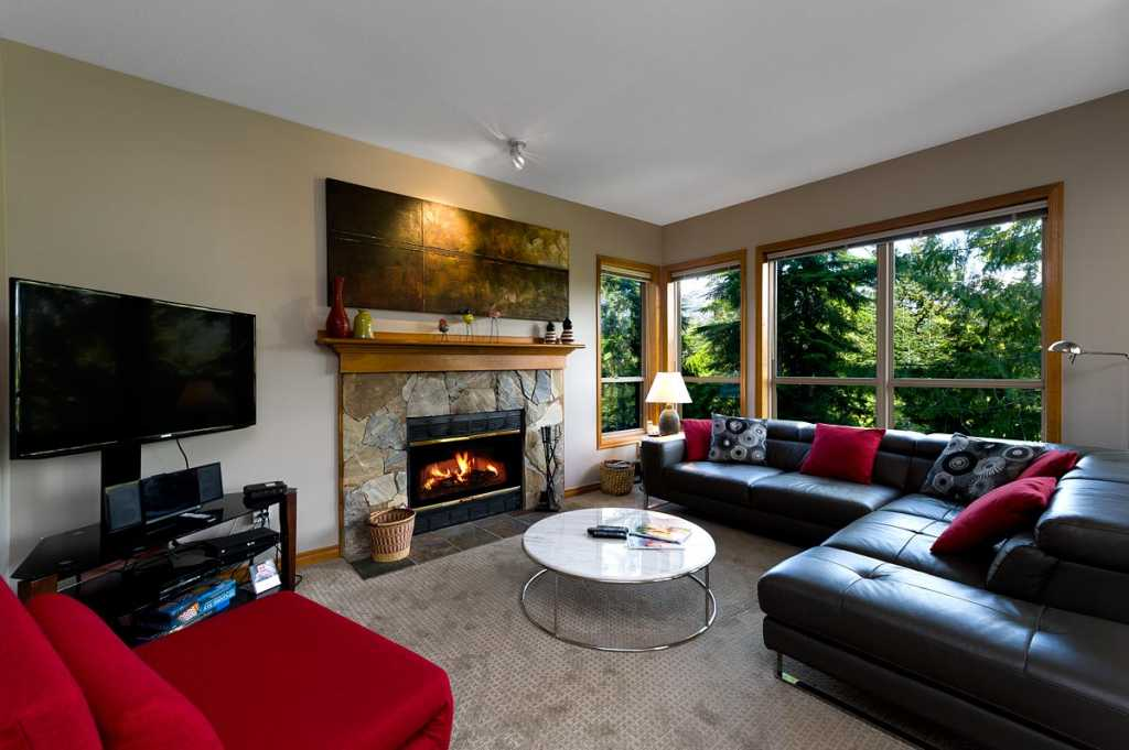 Main area with gas fireplace & cable TV