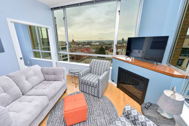 Living room with corner unit views both West and North facing.