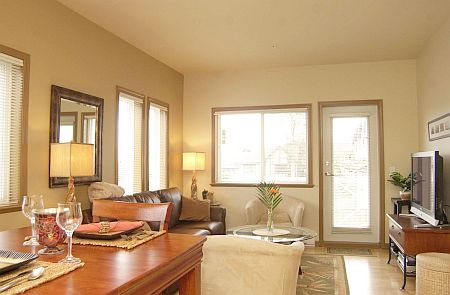 Parkwood Condo with spacious living room.