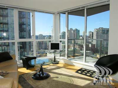 City views from the bright living room.